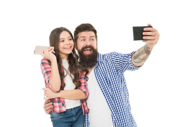 Say hello to family. Capture happy moments. Family selfie. Smartphone selfie. Dad and daughter having fun. Father and stock photo
