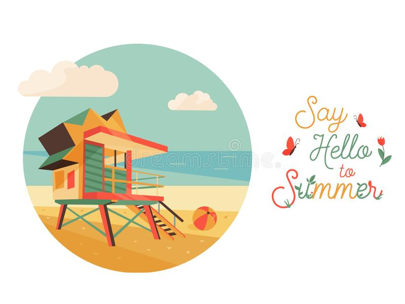 Say Hello to Summer poster, banner vector illustration