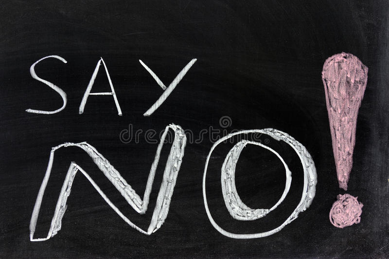 Say no!. Conceptional chalk drawing - Say no royalty free stock images