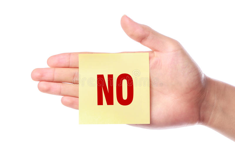 Say No. Hand with Say No note is isolated on white background stock image