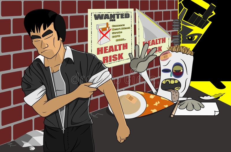 Say No Reject Quit Smoking Cigarette Illustration. Vector cartoon illustration of a beaten up cigarette by a Jeet Kune Do master in an alley. Anti-smoking vector illustration