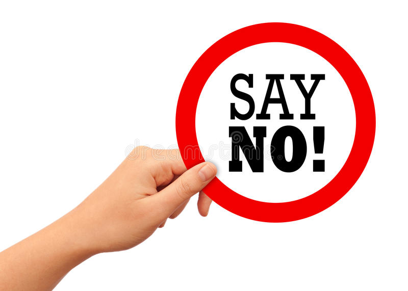 Say no. Sign on white background stock image