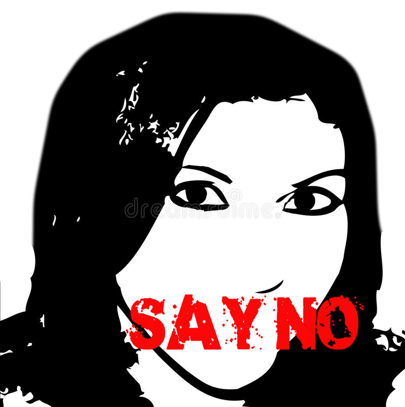 Say No Stop violence against women royalty free illustration
