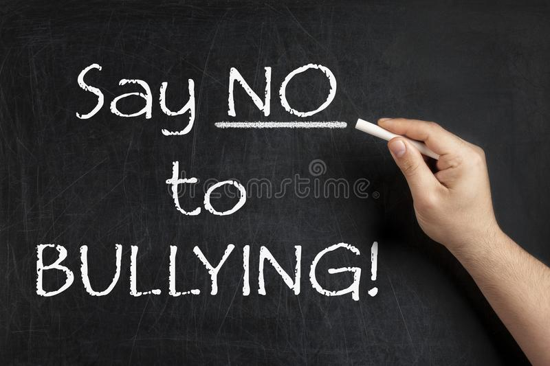 Download Say No To Bullying Teacher Blackboard Chalkboard Stock Photo - Image of violence, awareness: 109528962