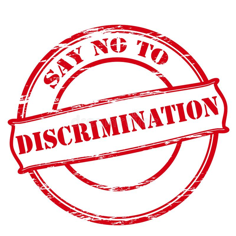 Say no to discrimination. Rubber stamp with text say no to discrimination inside, illustration vector illustration