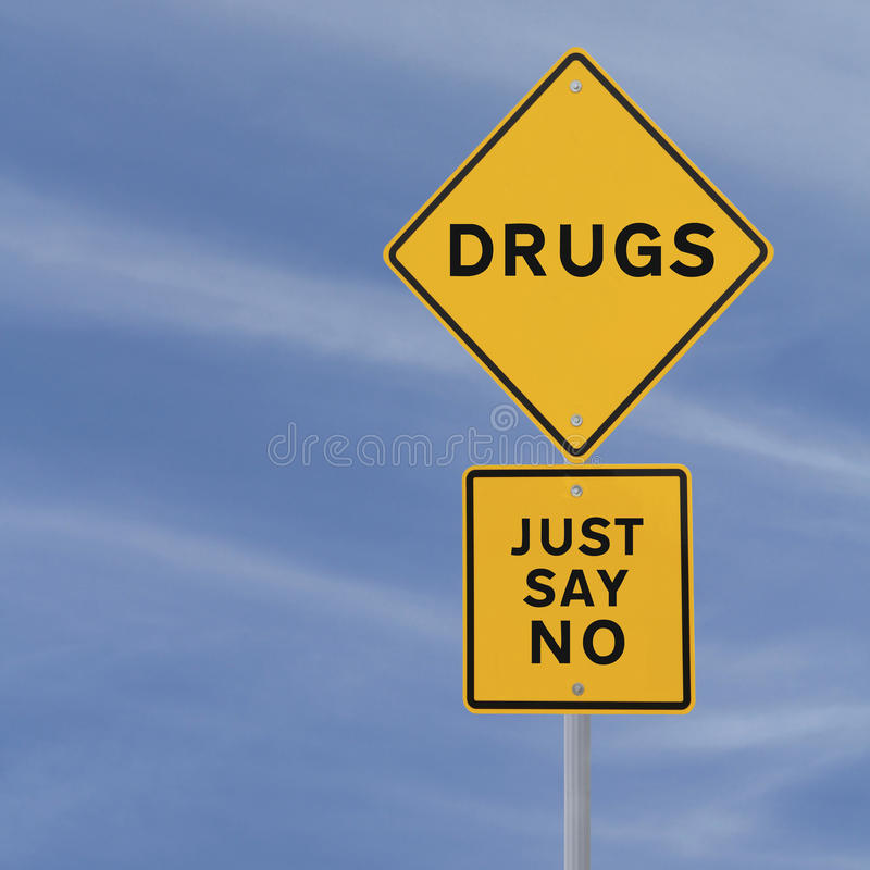 Say No To Drugs. Road sign indicating Just Say No To Drugs (against a blue sky background with copy space royalty free stock photos