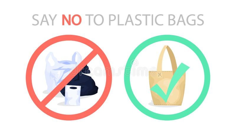 Say no to plastic bag ecological web banner concept stock illustration