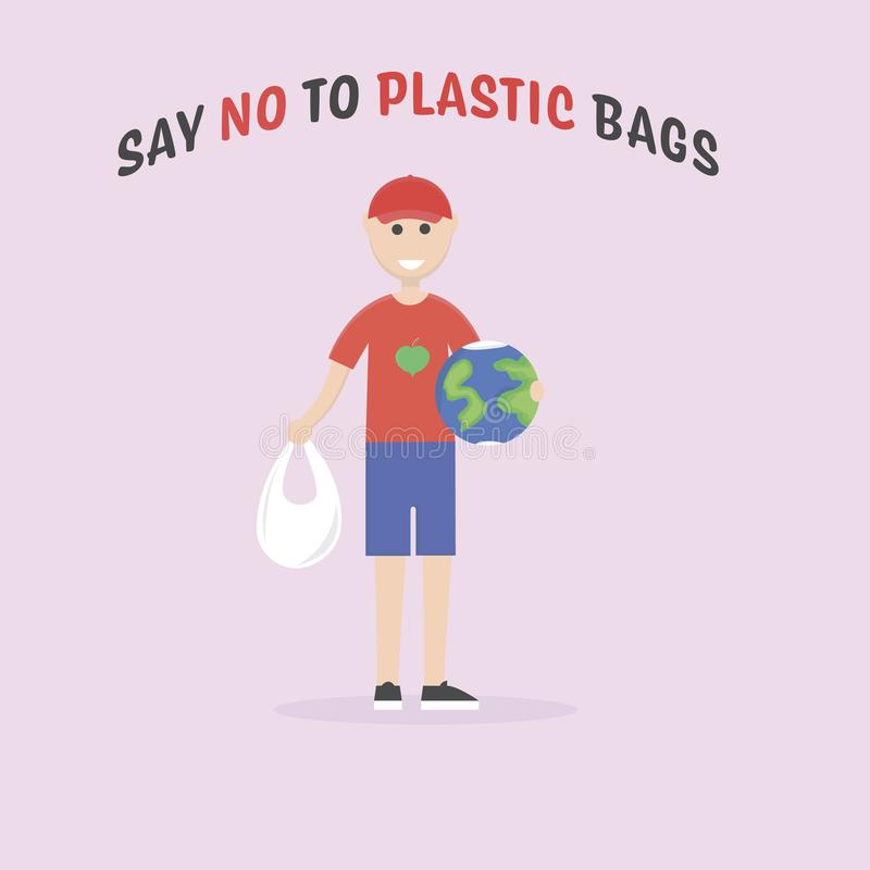 Say no to plastic bags. Male eco activist holding a globe. Ecology conversation. Flat editable vector illustration stock illustration