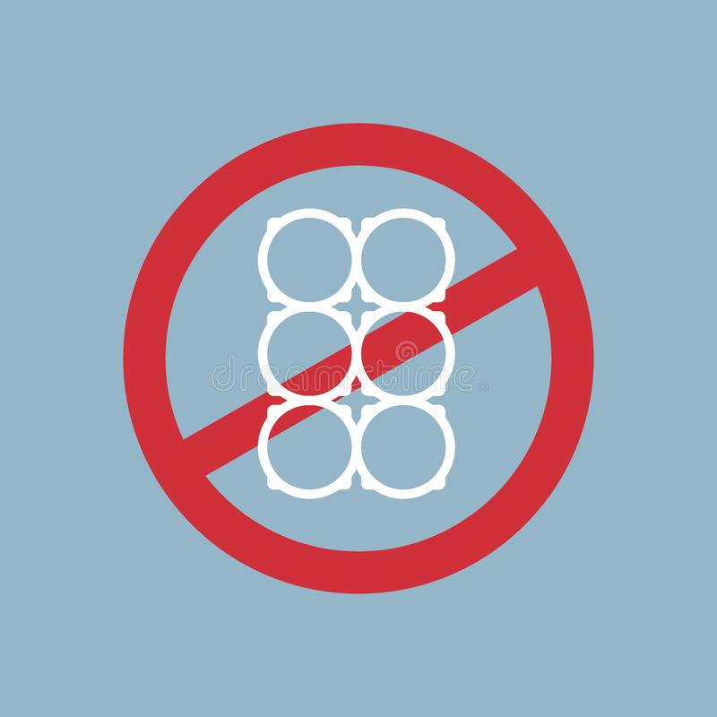 Say no to plastic cup holder poster pollution recycling ecology problem save the earth concept ban prohibition sign flat stock illustration