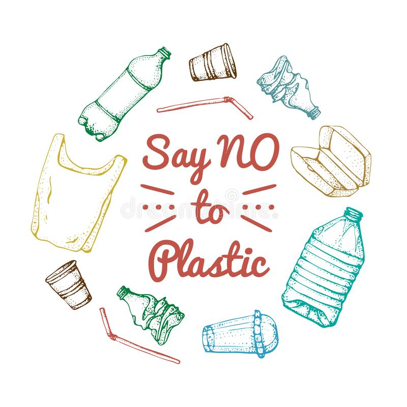 Say no to plastic. Motivational phrase. Hand drawn doodle plastic pollution icons set. Vector illustration sketchy vector illustration