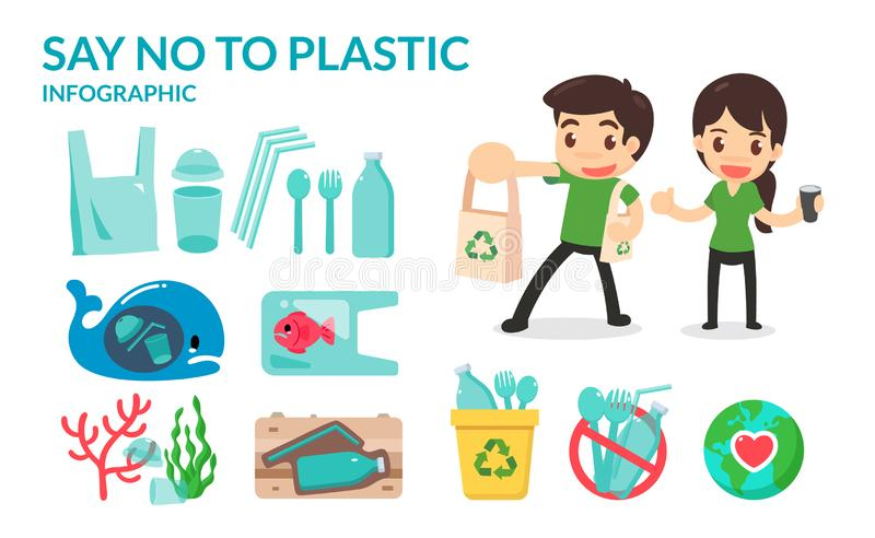 Say no to plastic straw tubes, bags, bottles, and cups to save the earth and ocean. Go green campaign. royalty free stock photography