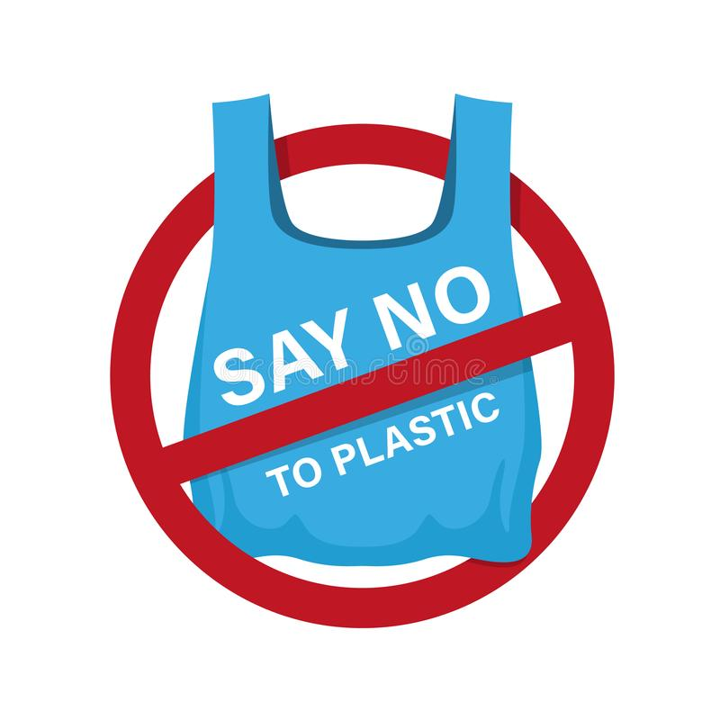 Say no to plastic text on blue plastic bag in red stop circle sign vector design stock illustration