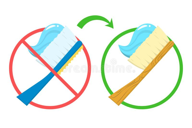 Say no to plastic toothbrush and use bamboo brush stock illustration