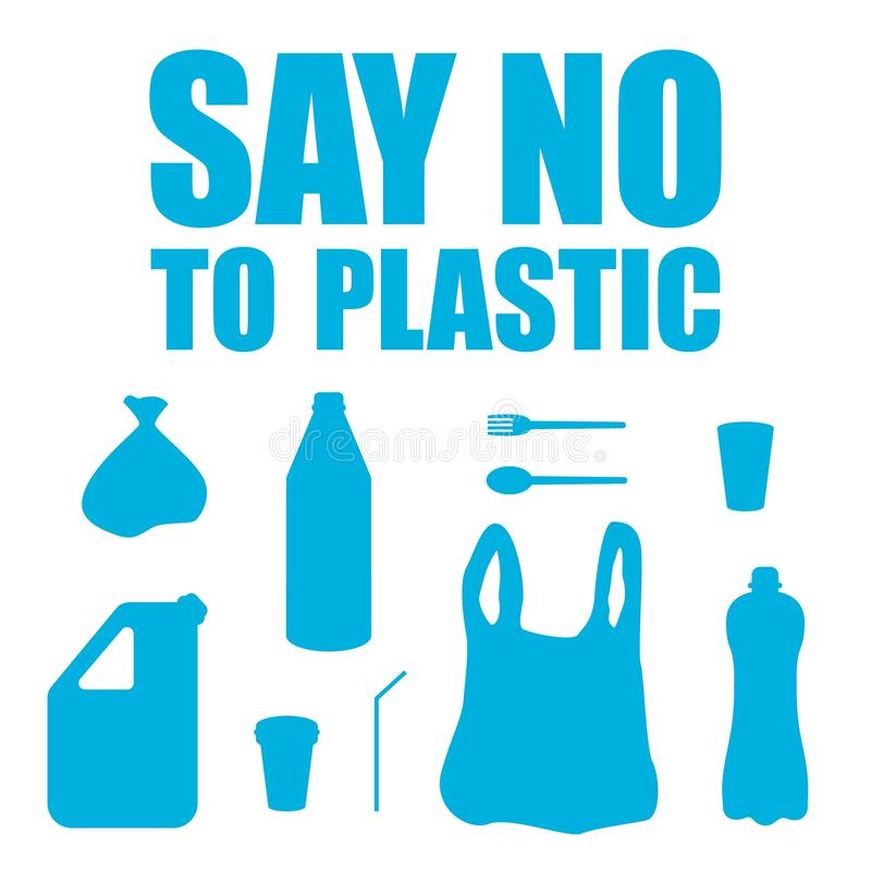 Say no to plastic. Vector set of plastic objects. Stop pollution. Environmental protection. Save planet. Waste-free production. Garbage. Bottle, plastic cup vector illustration