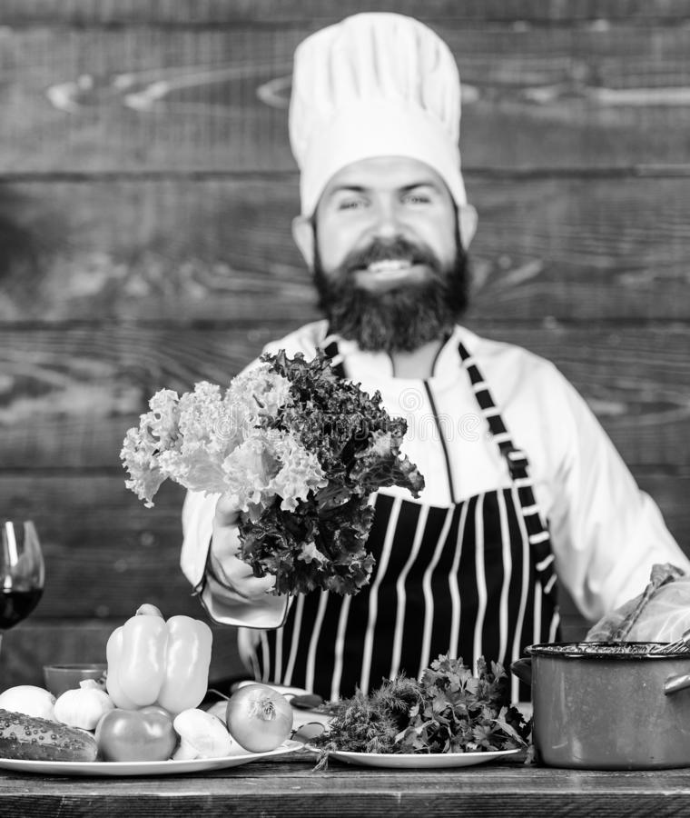 Say no to unhealthy food. Happy bearded man. chef recipe. Dieting organic food. Healthy food cooking. Mature hipster stock photos