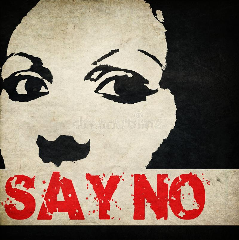 """Say no to Violence against women. Say no Women victim of domestic violence and abuse protesting against women violence """" Say NO """" government signing royalty free illustration"""