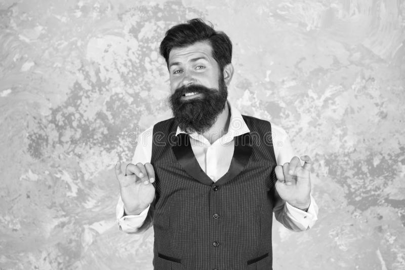 Say OK to better smile. Bearded man smile on abstract wall. Happy guy with white smile. Hipster with healthy smile on stock images