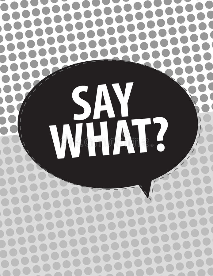 Say What?. Speech bubbles over circle pattern stock illustration