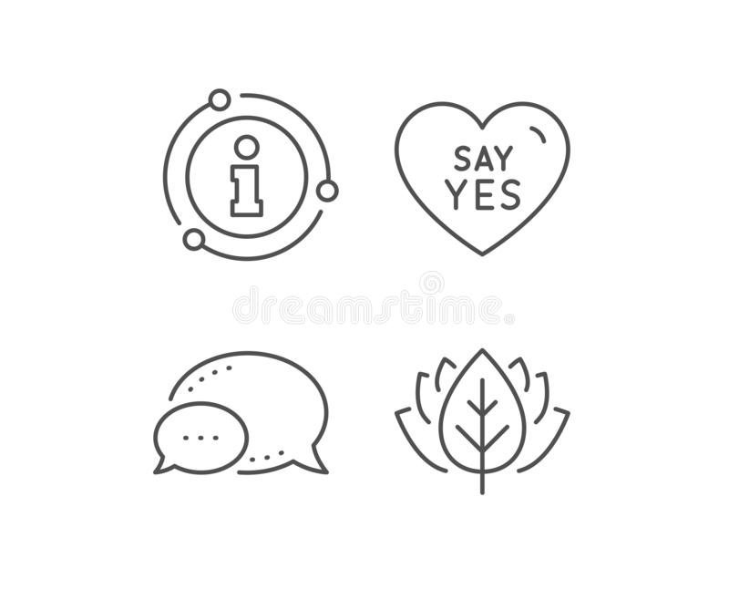 Say yes line icon. Sweet heart sign. Wedding day love. Vector. Say yes line icon. Chat bubble, info sign elements. Sweet heart sign. Wedding love symbol. Linear royalty free illustration