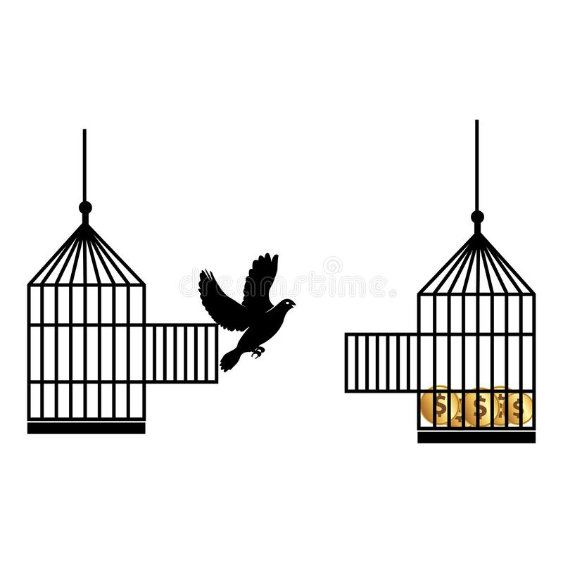 Illustration of doves move cages. Vector illustration concept for looking for a better life vector illustration