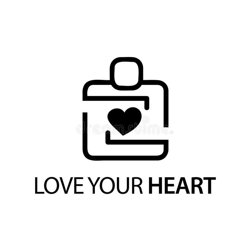People with heart icon. Concept of love your heart . stock illustration