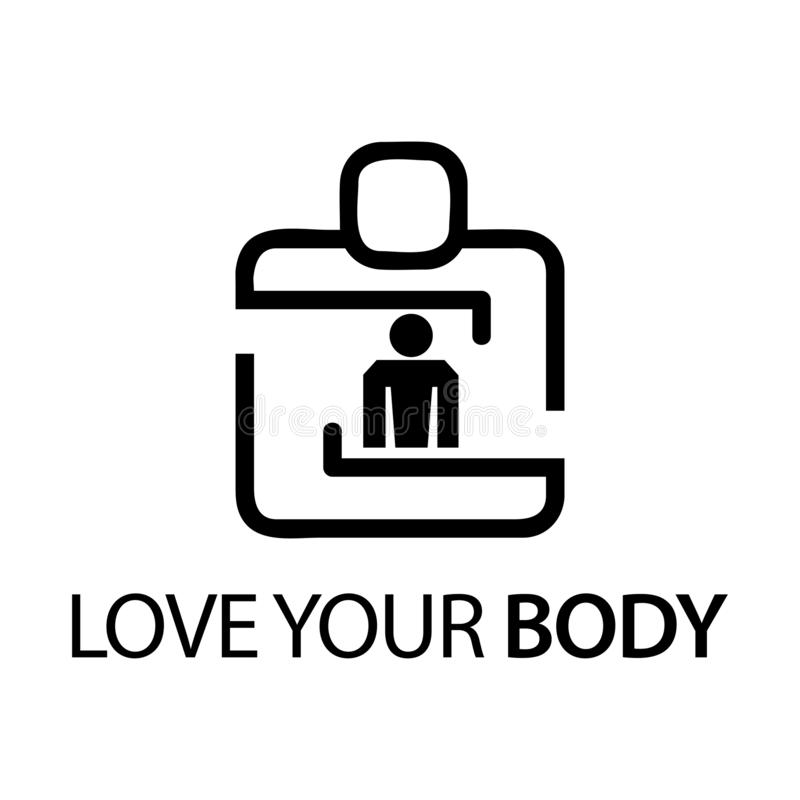 People with body icon. Concept of love your body. stock illustration