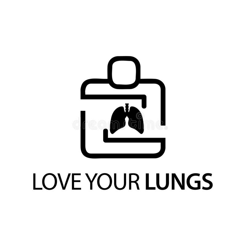 People with lungs icon. Concept of love your lungs. stock illustration