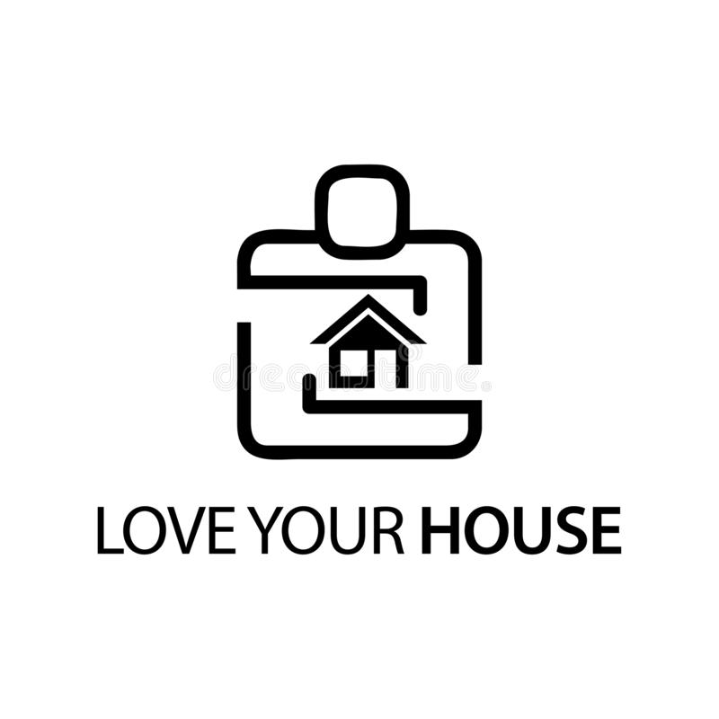 People with house icon. Concept of love your house. royalty free illustration
