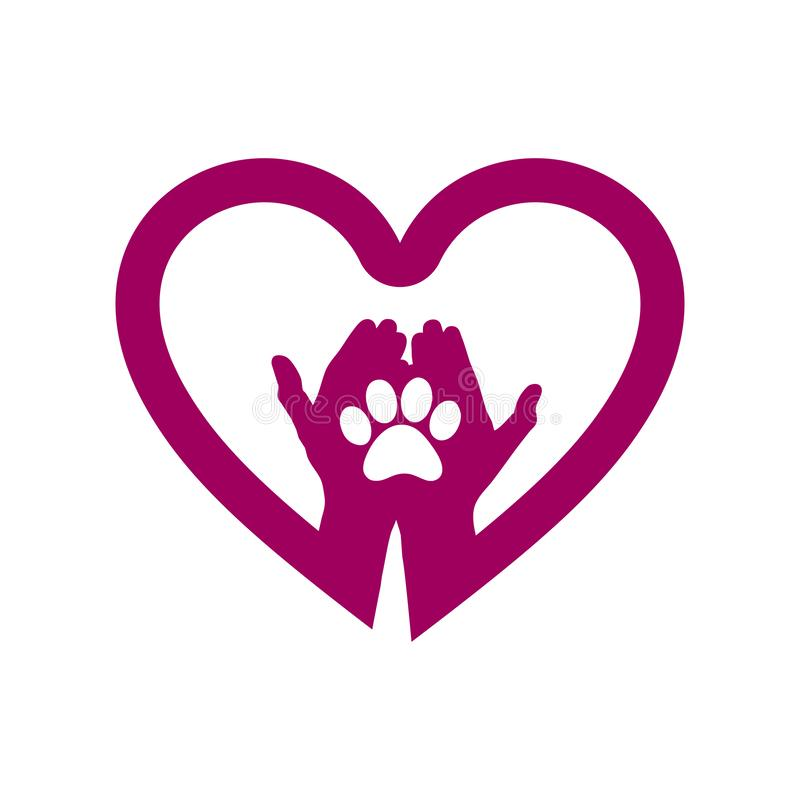 Hand with dog paw in heart icon. Concept of love your dog. royalty free illustration