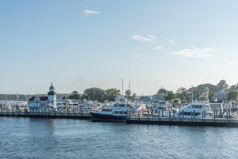 Saybrook-Punktjachthafen im Sommer, Connecticut lizenzfreie stockfotografie