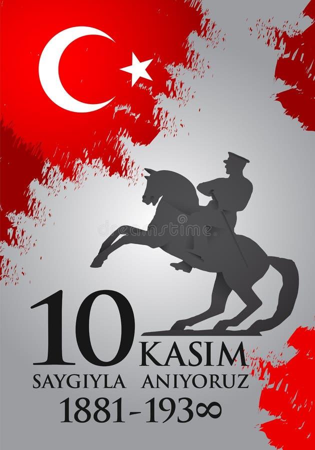 Saygilarla aniyoruz 10 kasim przekład od tureckiego Listopad 10, szacunek i pamięta royalty ilustracja