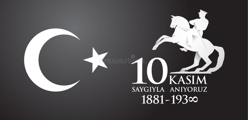 Saygilarla aniyoruz 10 kasim przekład od tureckiego Listopad 10, szacunek i pamięta ilustracja wektor