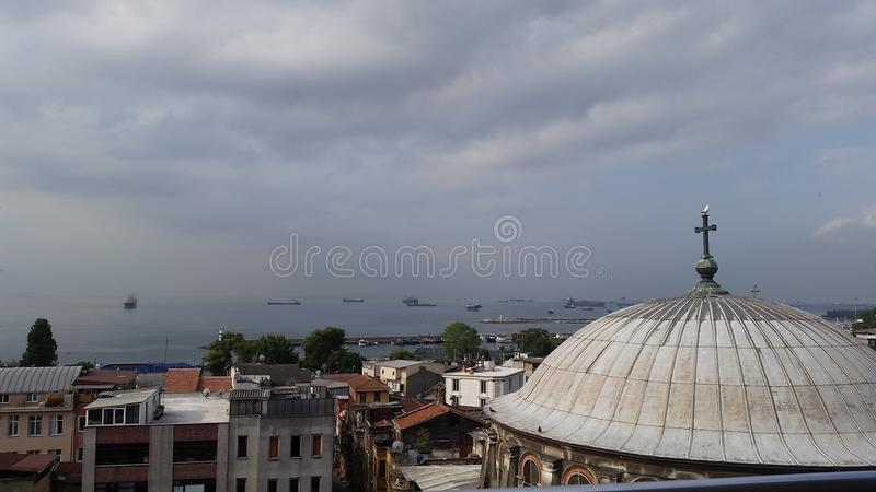 Sayiban Hotel View of Mediterranian. Istanbul city church with Mediterranean sea view from a cheap hotel with good services royalty free stock photos