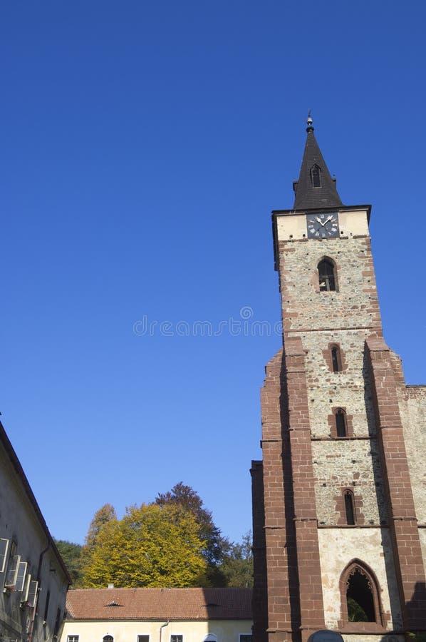 Sazava. Tower of the Benedictine monastery in the town of Sazava, Czech Republic royalty free stock photography