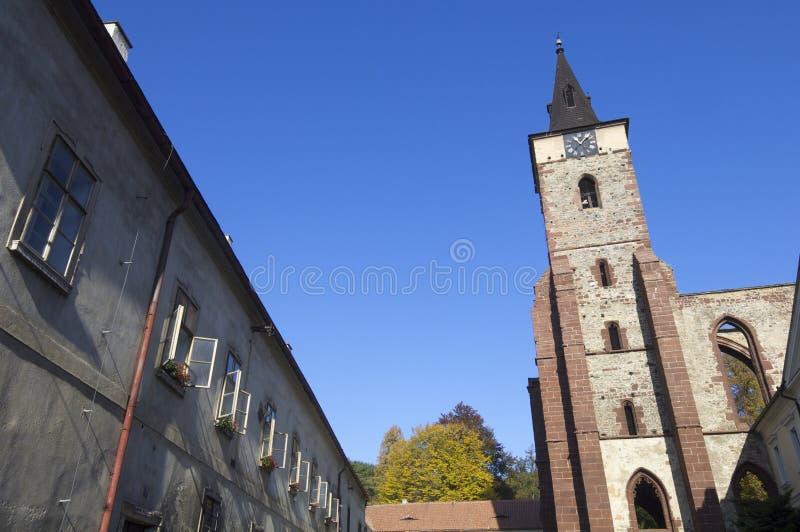 Sazava. Tower of the Benedictine monastery in the town of Sazava, Czech Republic royalty free stock photos
