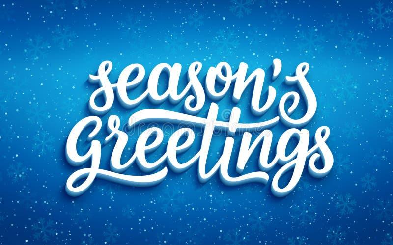Sazona los saludos que ponen letras en fondo azul libre illustration