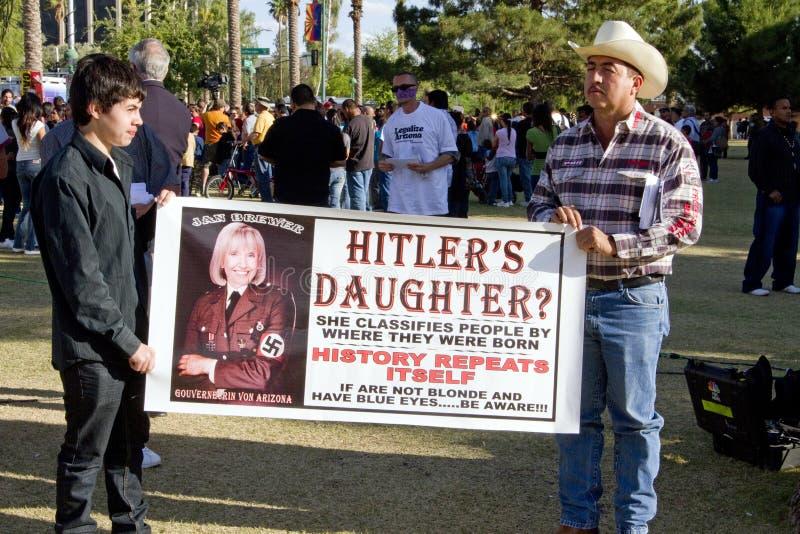 SB 1070 da lei da imigração do Arizona do protesto imagem de stock
