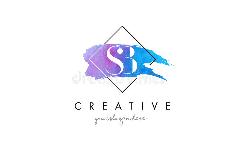 SB Artistic Watercolor Letter Brush Logo. stock illustration