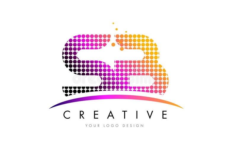 SB S B Letter Logo Design with Magenta Dots and Swoosh. SB S B Dots Letter Logo Design with Magenta Bubble Circles and Swoosh royalty free illustration