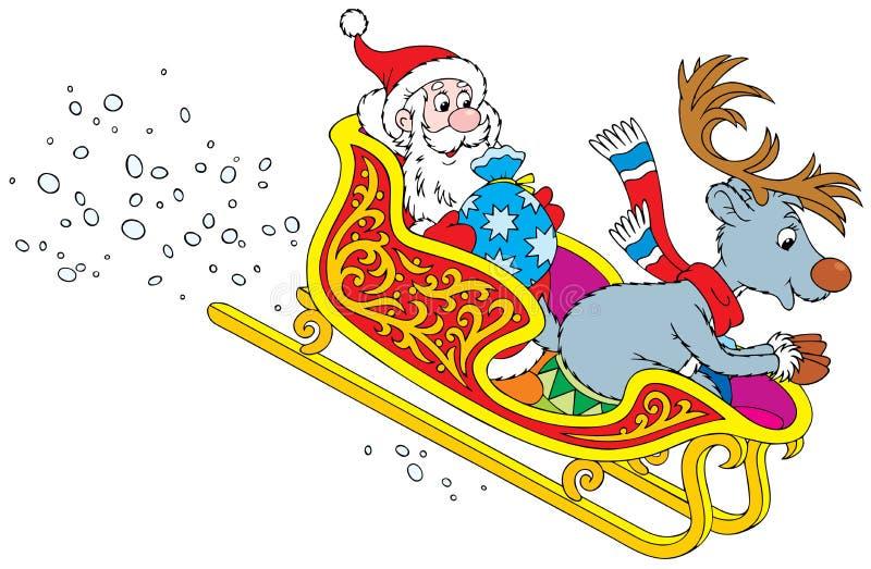 Sbalzo della renna e del Babbo Natale nella slitta illustrazione vettoriale