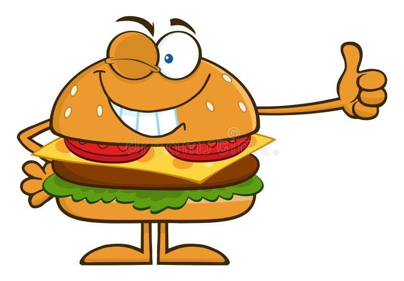 Sbattendo le palpebre il personaggio dei cartoni animati dell'hamburger che mostra i pollici su illustrazione di stock