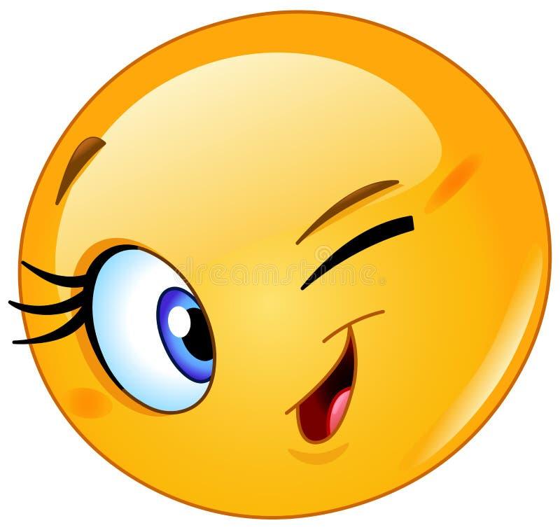Sbattere le palpebre femminile dell'emoticon illustrazione vettoriale