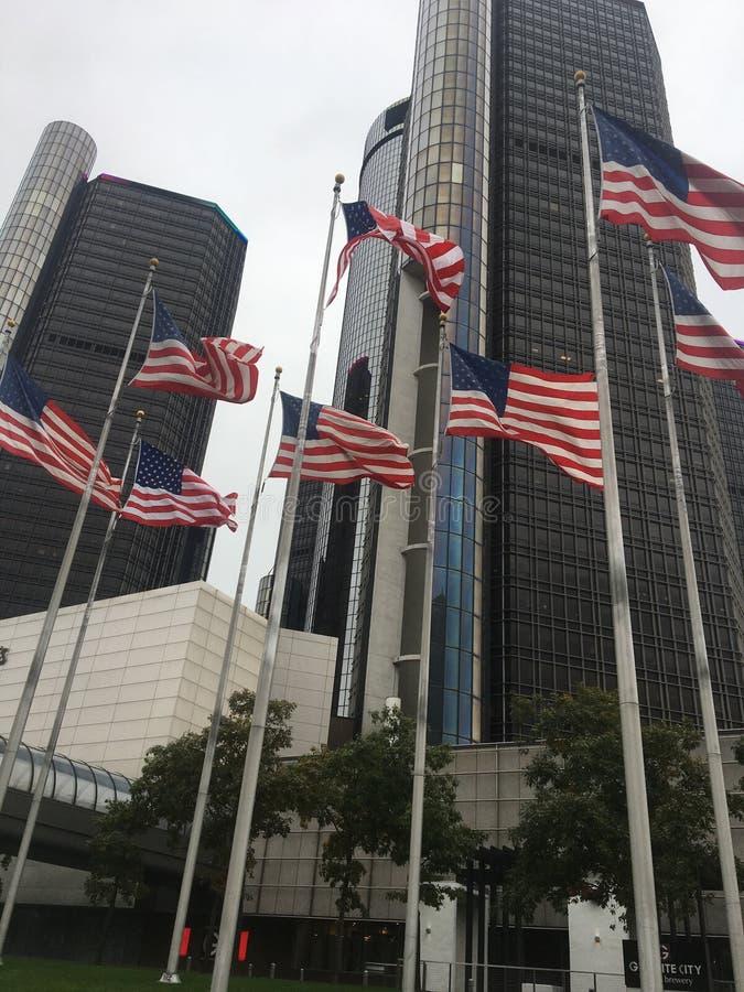 Sbattimento delle bandiere U.S.A. fotografia stock