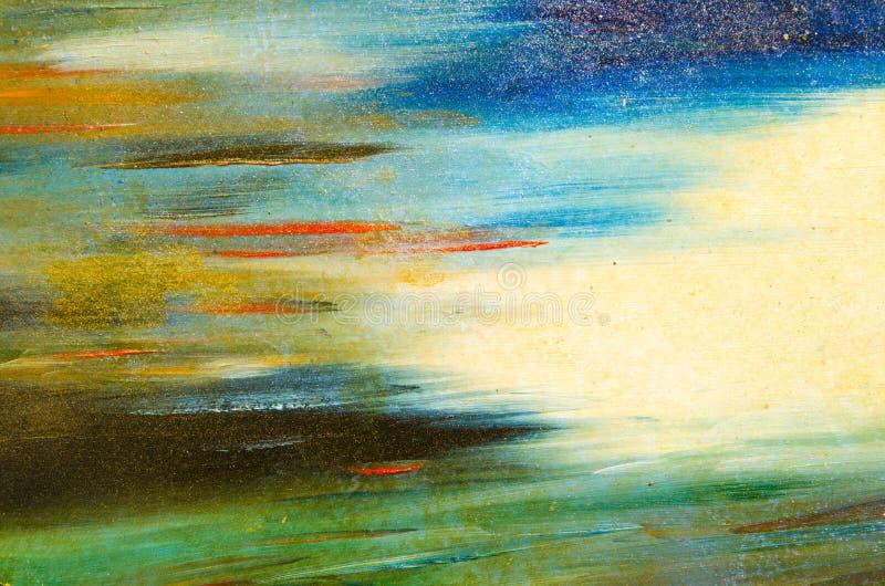 Sbavature orizzontali della pittura dell'acquerello su una tela solida fotografia stock