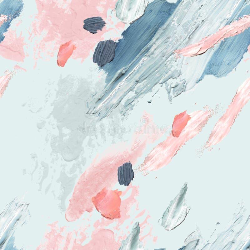 Sbavature ruvide dell'acrilico, del petrolio e della pittura dell'acquerello, macchie, modello senza cuciture di struttura royalty illustrazione gratis
