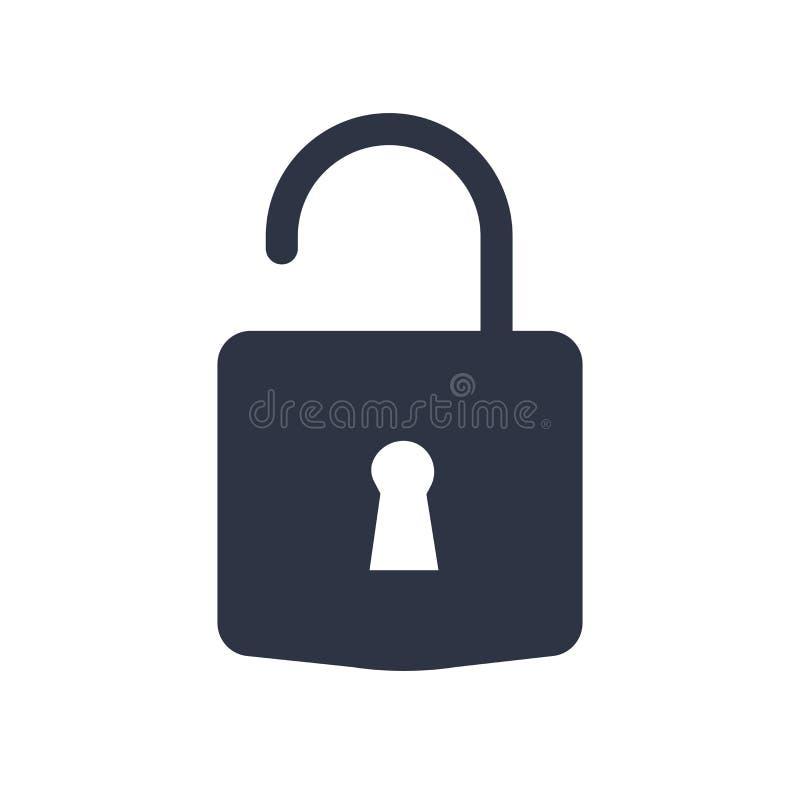 Sblocchi il segno di vettore dell'icona ed il simbolo isolato su fondo bianco, sblocca il concetto di logo royalty illustrazione gratis