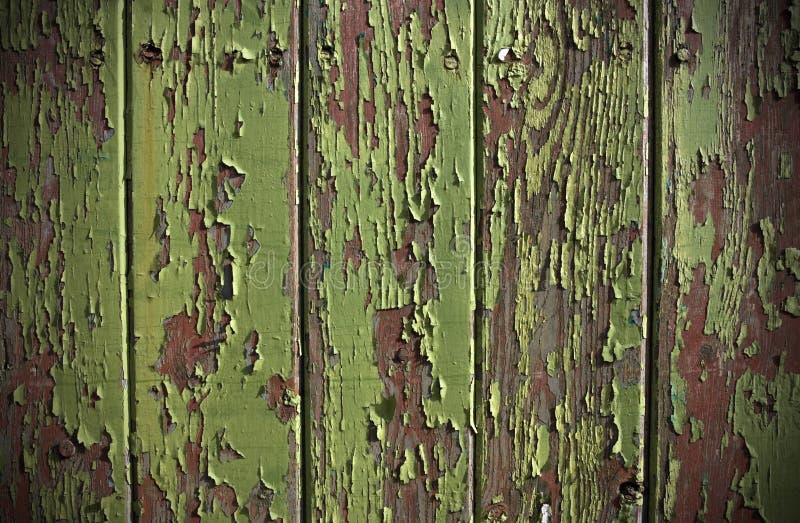 Sbucciatura verde della vernice da un portello di comitato di legno fotografia stock libera da diritti