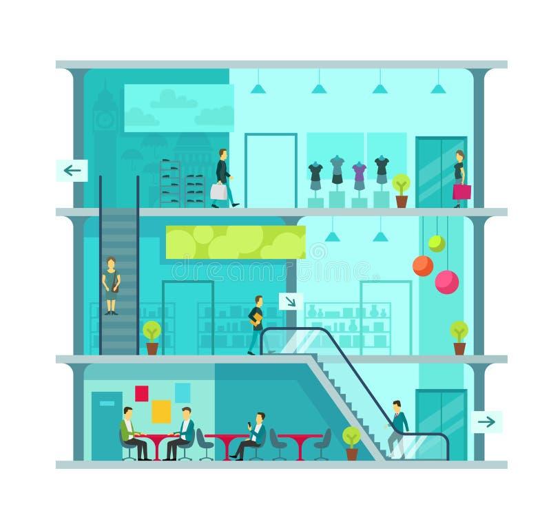 Scène à l'intérieur d'illustration de vecteur de centre commercial illustration stock