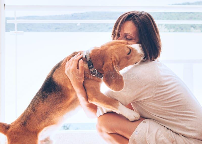 Scène à la maison tendre avec la propriétaire de femme et son chien de briquet image libre de droits