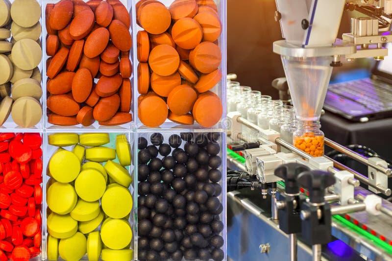 Scène abstraite de coloré des comprimés de prescription, pil de capsules photo stock